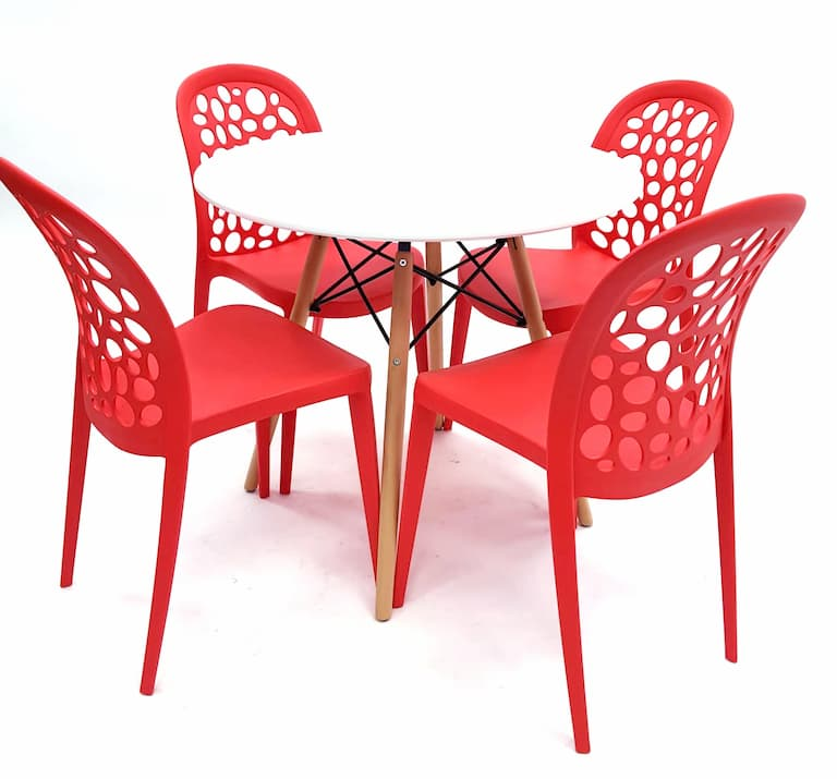 White Round Pyramid Table & 4 Red Roma Chairs Set - BE Furniture Sales