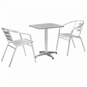 2 Aluminium Chairs & 60 cm Square Pedestal Table Cafe Set - BE Furniture Sales