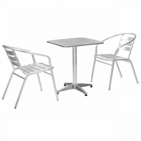 Aluminium Garden Set with 1 Square Table & 2 chairs - BE Furniture Sales