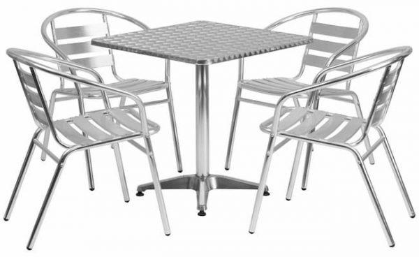 4 Aluminium Chairs & 60 cm Square Pedestal Table Cafe Set - BE Furniture Sales