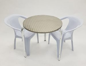 Aluminium Garden Table & 2 White Plastic Chairs- BE Furniture Sales