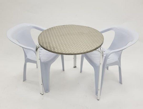 Aluminium Garden Table & 2 White Plastic Chairs- BE Furniture Sales