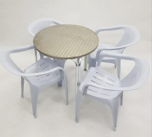 Aluminium Garden Table & 4 White Plastic Chairs- BE Furniture Sales