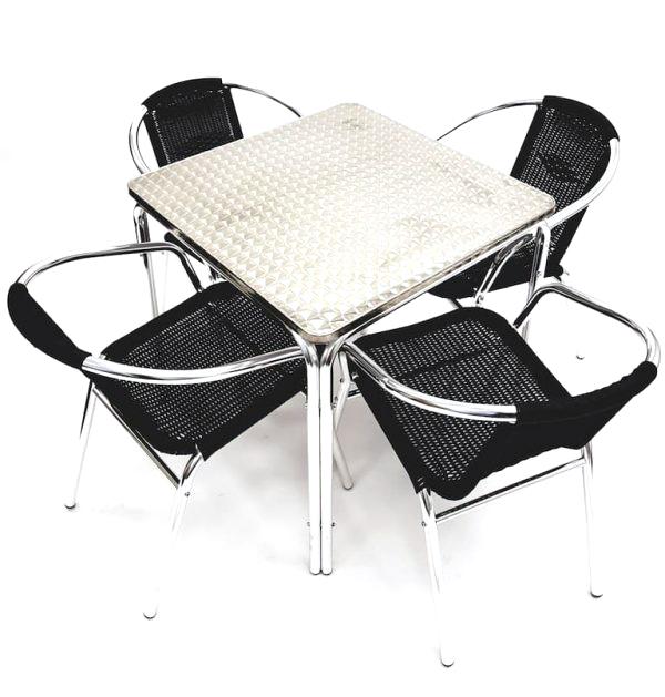 4 Black Rattan Chairs & Square Aluminium Table Set - BE Furniture Sales