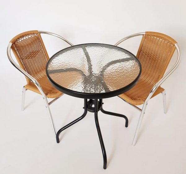 Black and Glass Table and 2 Natural Rattan Chairs - BE Furniture Sales