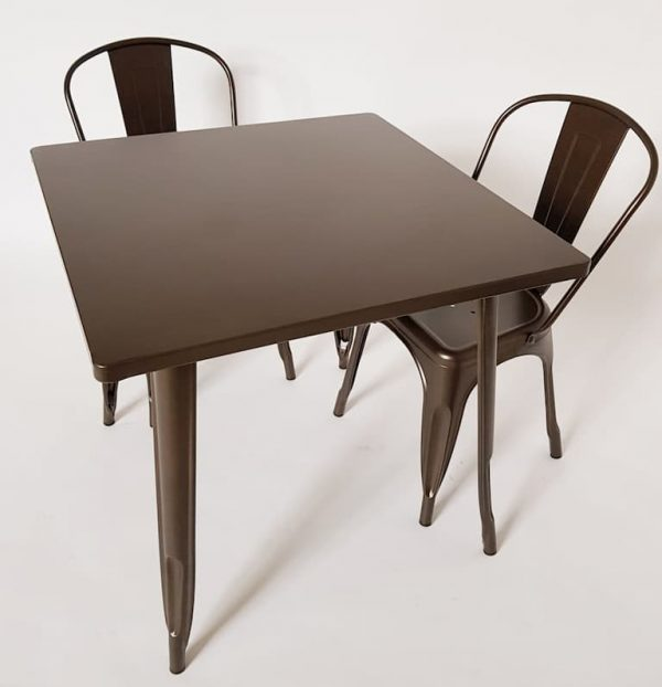 Bronze Metal Tolix Sets - 2 Tolix Chairs & 1 Table - BE Furniture Sales