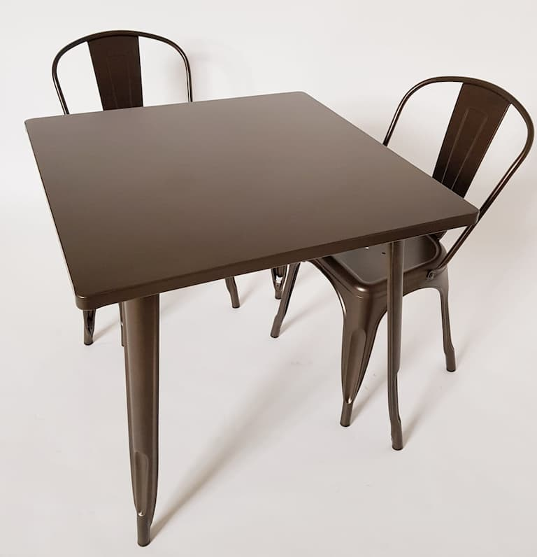 Bronze Coloured Metal Tolix 2 Chairs Set - BE Furniture Sales