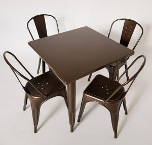 Bronze Coloured Metal Tolix 4 Chair Sets - BE Furniture Sales
