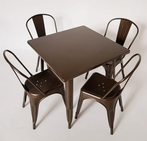 Bronze Coloured Metal Tolix 4 Chair Sets - BE Furniture Sales