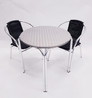 Round Aluminium Garden Table & 2 Black Rattan Chairs Set - BE Furniture Sales
