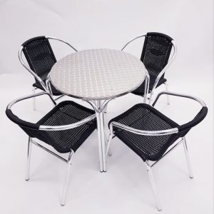 Aluminium Garden Table & 4 Black Rattan Chairs- BE Furniture Sales