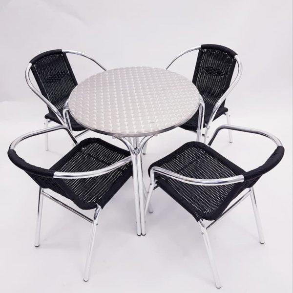Aluminium Garden Table & 4 Black Rattan Chairs- BE Furniture Sales