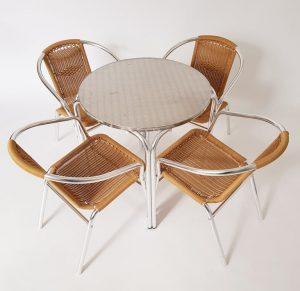 Round Aluminium Garden Table & 4 Rattan Chairs Set - BE Furniture Sales