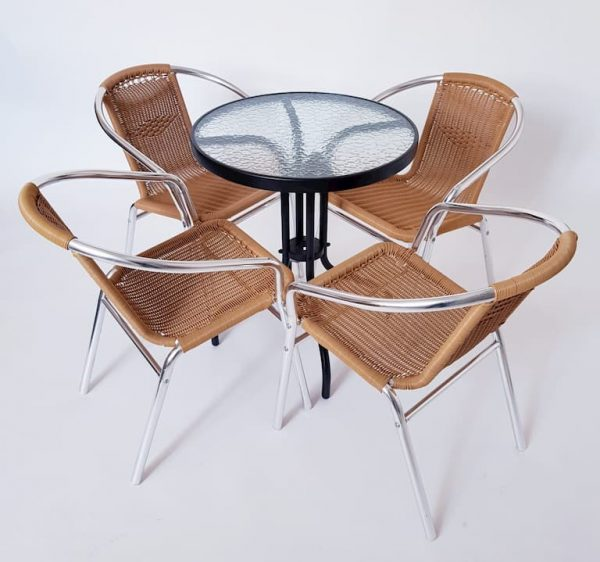 Black and Glass Table & 4 Natural Rattan Chairs - BE Furniture Sales
