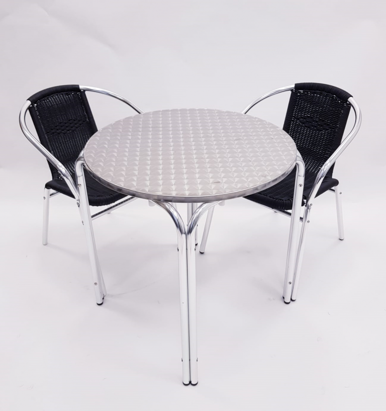 Round Aluminium Garden Table & 2 Black Rattan Chairs Set - BE Furniture Sales