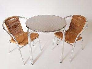 Round Aluminium Garden Table & 2 Rattan Chairs Set - BE Furniture Sales