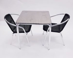 Square Aluminium Garden Table & 2 Black Rattan Chairs Set - BE Furniture Sales