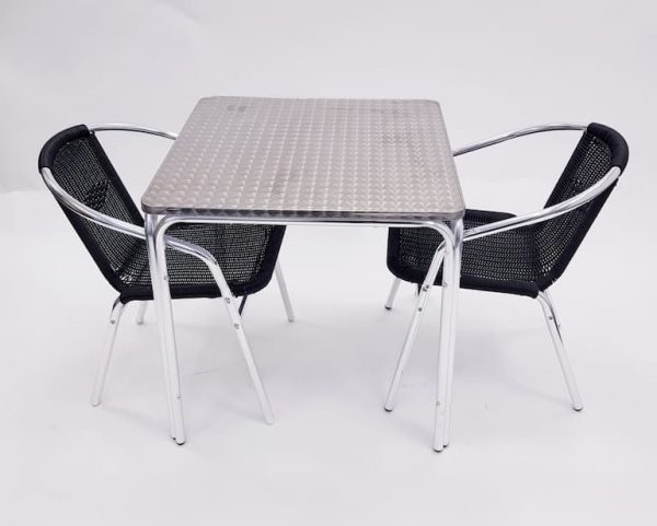 Square Aluminium Garden Table & 2 Black Rattan Chairs Set - BE Furniture Sales