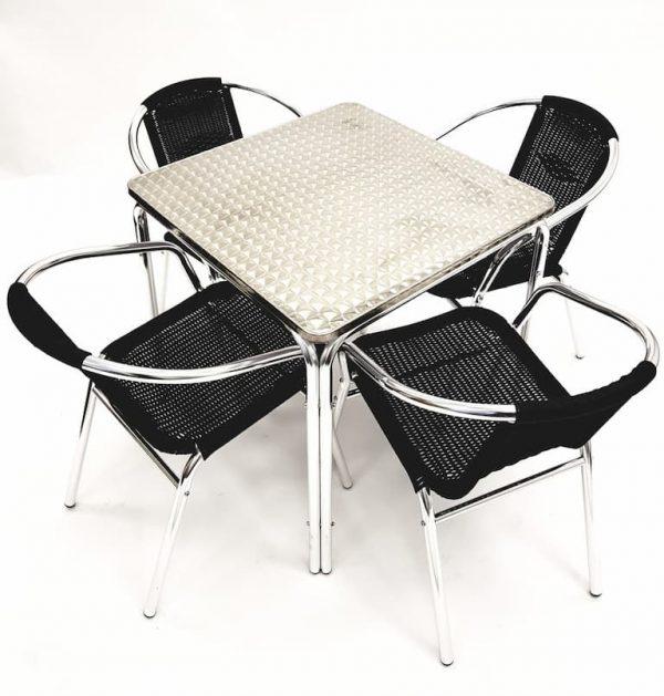 Square Aluminium Table & 4 Black Rattan Chairs Set - BE Furniture Sales