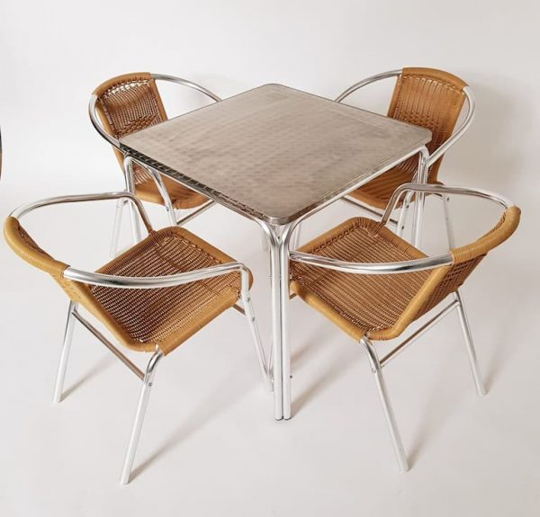 Square Aluminium GardenTable & 4 Rattan Chairs Set - BE Furniture Sales