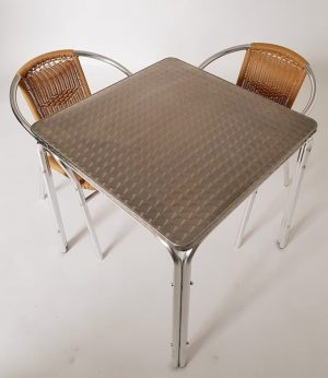 Square Aluminium Table & 2 Rattan Chairs Set - BE Furniture Sales