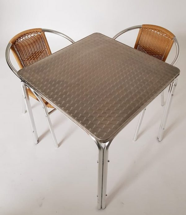 Square Aluminium Table & 2 Rattan Chairs Set - BE Furniture Sales