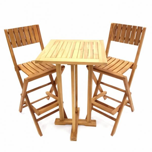 Hig Quality Teak Bar Table and 2 Teak Bar Stools - BE Furniture Sales