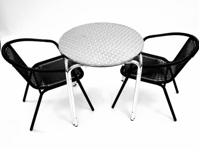 2 Black Steel Rattan Garden Chairs with Round Aluminium Stacking Bolero Table - BE Furniture Sales