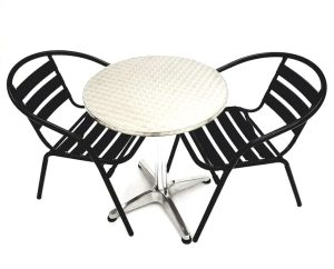 2 Black Steel Chair Sets & Round Aluminium Table - BE Furniture Sales