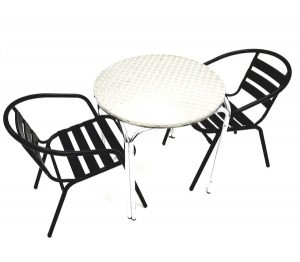 2 Black Steel Garden Chairs & Stacking Aluminium Table - BE Furniture Sales