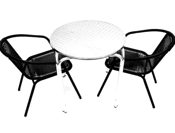 2 Black Steel Rattan Chairs with Round Aluminium Stacking Table - BE Furniture Sales