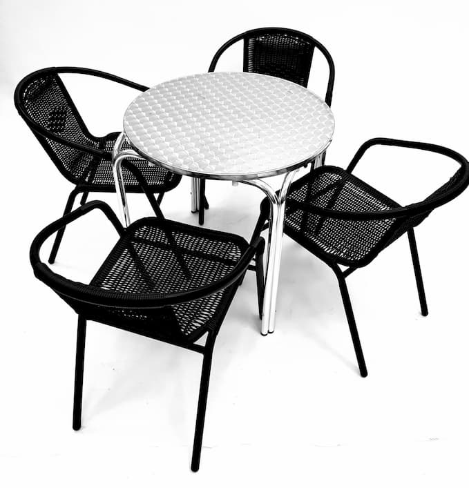 4 Black Steel Rattan Garden Chairs with Round Aluminium Stacking Bolero Table - BE Furniture Sales