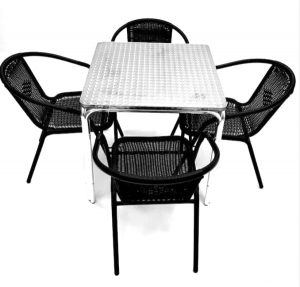 4 Black Steel Rattan Garden Chairs with Square Aluminium Stacking Bolero Table (Rolled Edge) - BE Furniture Sales