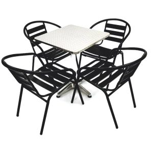 4 X Black Steel Chairs & Square Aluminium Pedestal Bolero Table - BE Furniture Sales