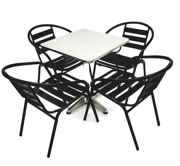4 X Black Steel Chairs & Square Aluminium Pedestal Bolero Table - BE Furniture Sales