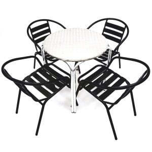 Black Garden Set with Stacking Aluminium Table - BE Furniture Sales