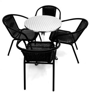 Black Rattan Garden Sets with 4 Chairs & Aluminium Table - BE Furniture Sales