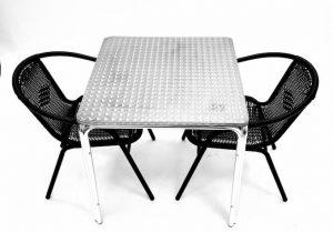 Black Rattan Garden Set x 2 Chairs & Square Aluminium Table - BE Furniture Sales