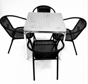 Black Rattan Garden Set x 4 Chairs & Aluminium Table - BE Furniture Sales