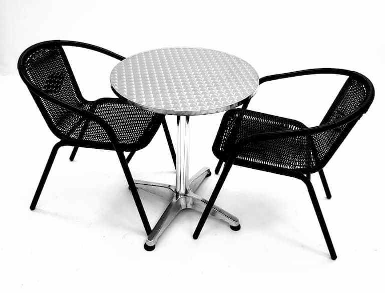 Black Rattan Garden Sets with 2 Chairs & Round Aluminium Pedestal Bolero Table - BE Furniture Sales