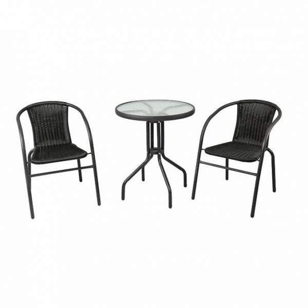 Black Steel Garden Set 2 Chairs & Glass Table - BE Furniture Sales