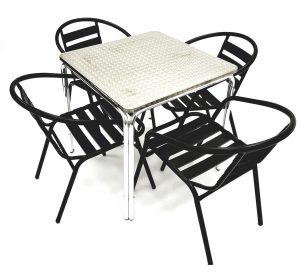 Black Steel Bistro Set