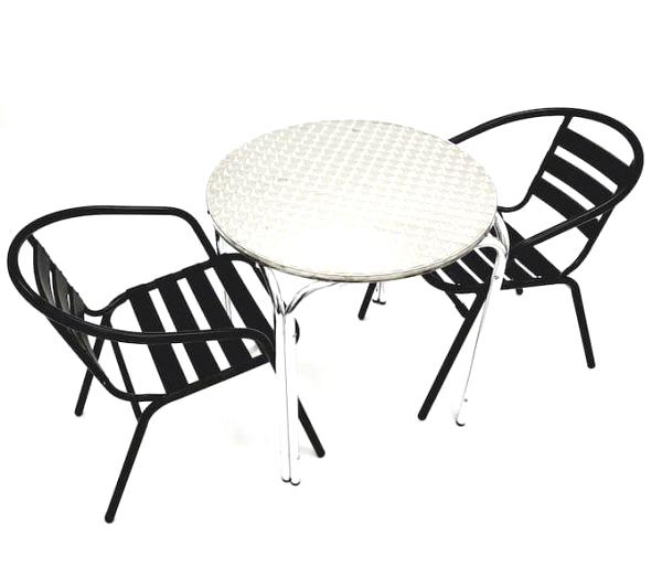 Black Steel Chair Set