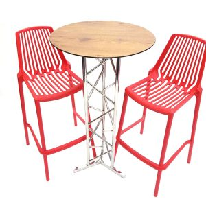 Red Bar Stool Set