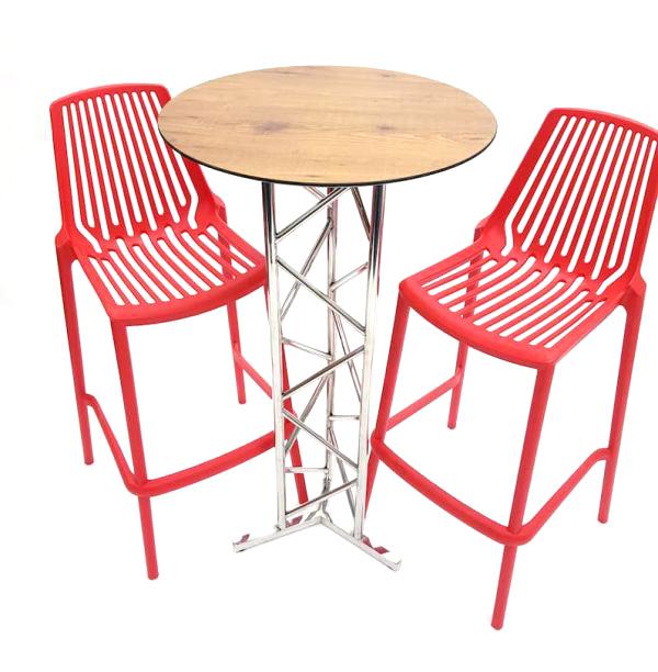 Red Bar Stool Set