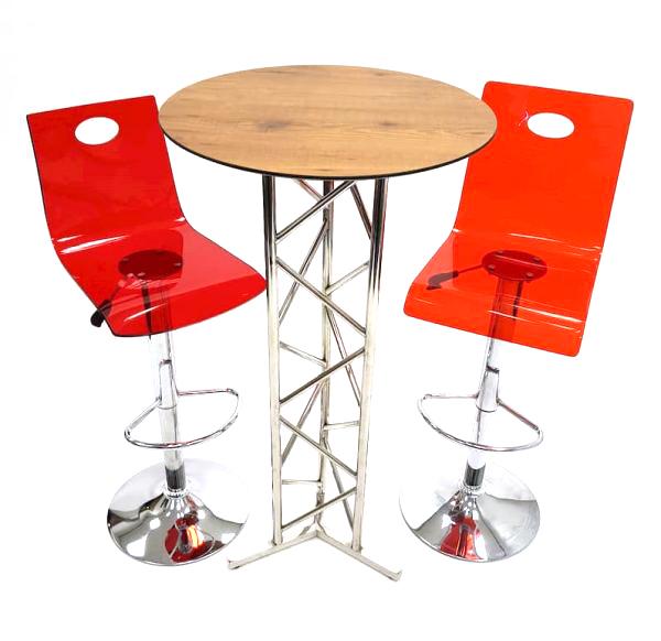 Red Acrylic Bar Stool Set