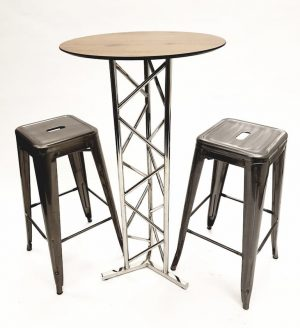 Oak Top Stainless Steel Poseur Table & 2 Tolix Stools - BE Furniture Sales
