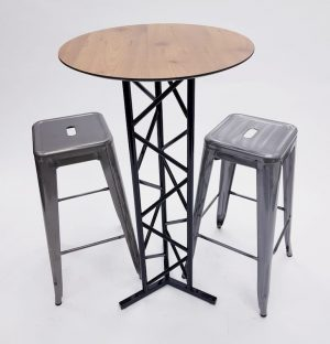 Oak Top Poseur Table with Black Stainless Steel Base & 2 Silver Tolix Bar Stools - BE Furniture Sales