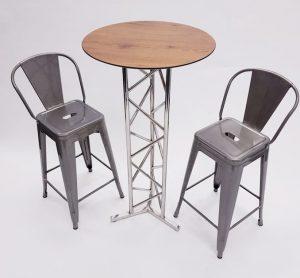 Oak Top High Table & 2 Silver Tolix Bar Stools - BE Furniture Sales