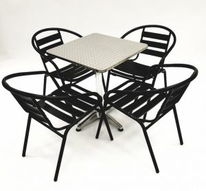 Black Steel Garden Sets with Square Aluminium Table - BE Furniture Sales